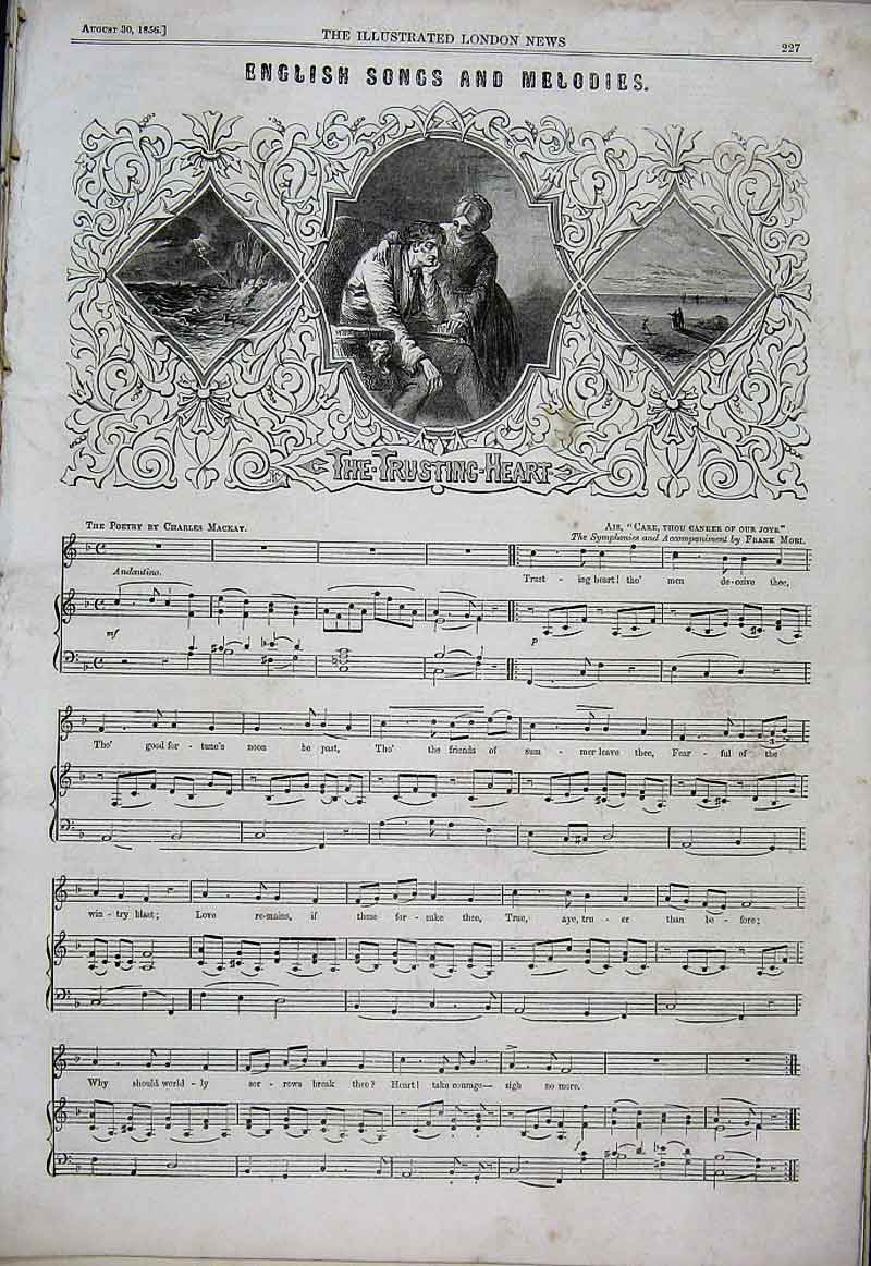 Print Trusting Hart 1856 English Songs & Melodies 27Aaa1 Old Original