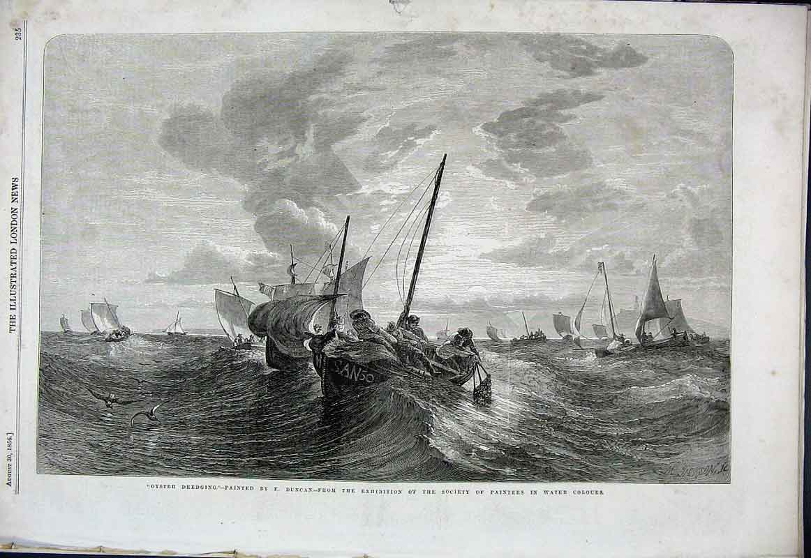 Print Oyster Dredging By Duncan Fine Art 1856 35Aaa1 Old Original