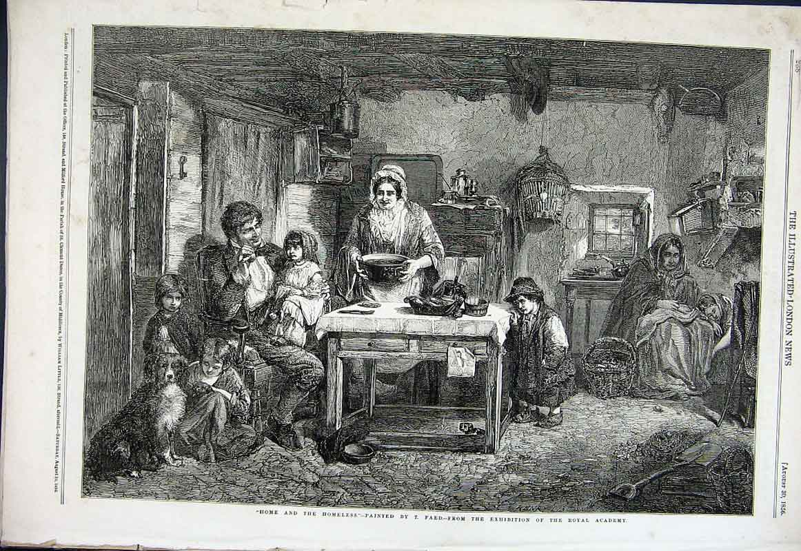 Print Home & The Homeless By Faed Fine Art 1856 38Aaa1 Old Original