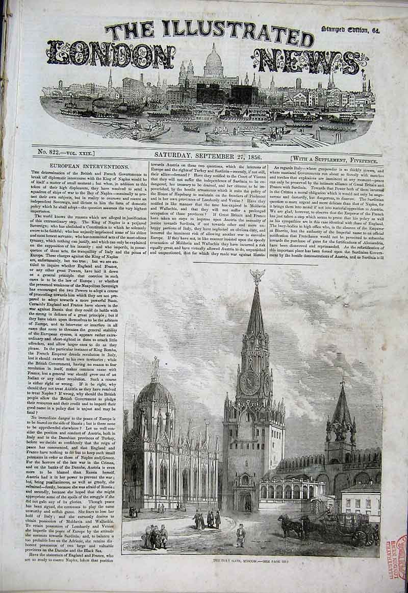 Print Holy Gate Moscow 1856 Russia 12Aaa1 Old Original