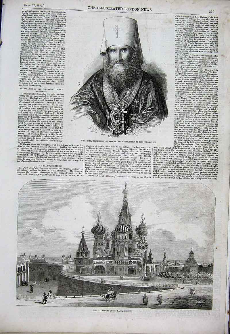 Print Cathedral St Basil & Philarete Archbishop Moscow 1856 19Aaa1 Old Original