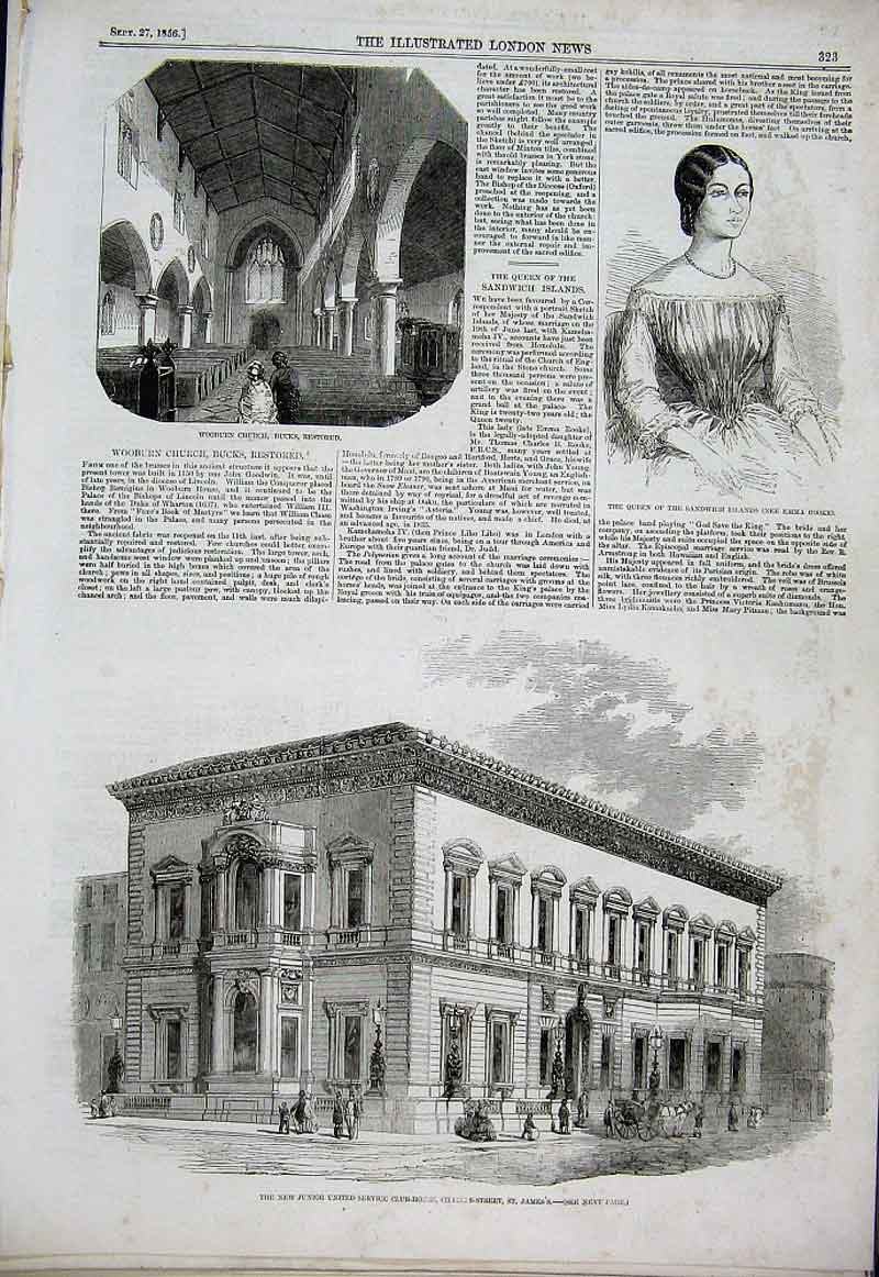 Print United Services Club Charles Street St James London 185 23Aaa1 Old Original