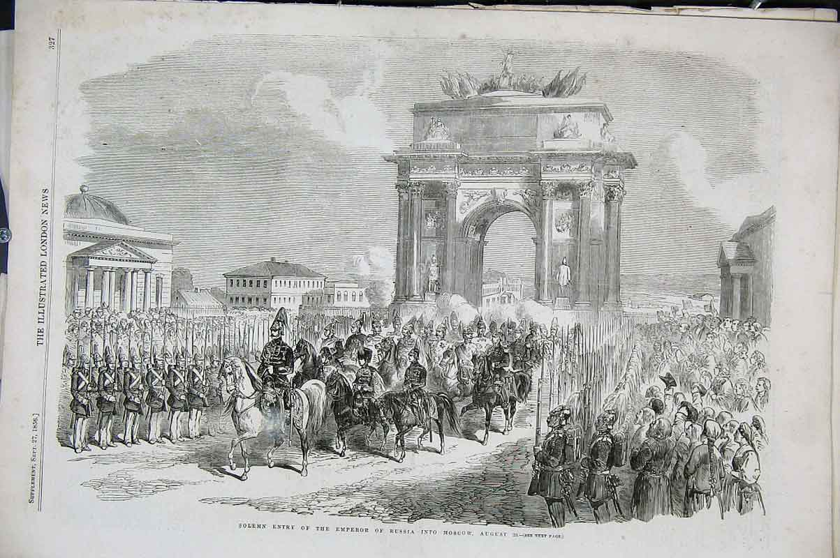 Print Entry Emperor Into Moscow August 29 1856 27Aaa1 Old Original