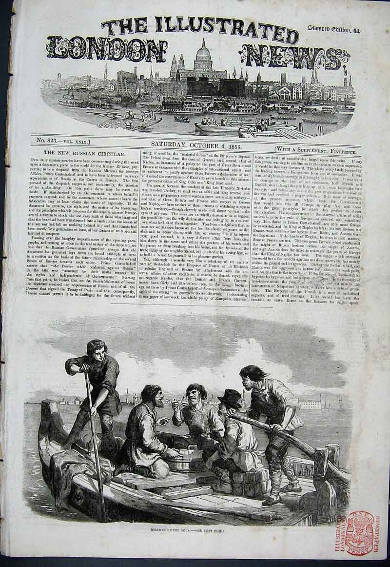 Print Boatmen On The Neva 1856 Russia 36Aaa1 Old Original