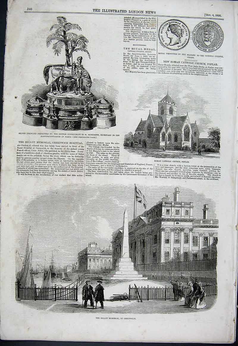 Print Poplar Church Bellot Memorial Greenwich 1856 46Aaa1 Old Original