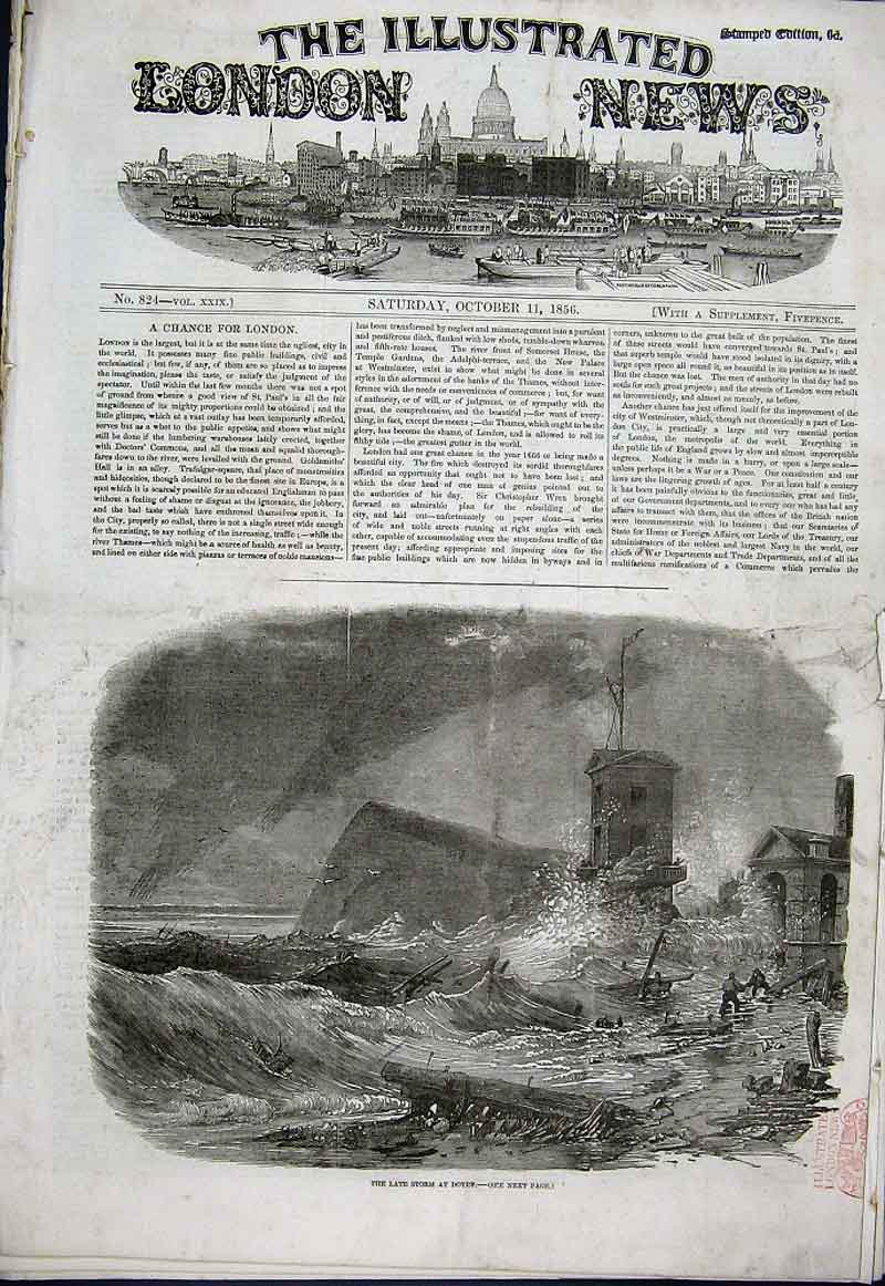Print Storm At Dover 1856 60Aaa1 Old Original