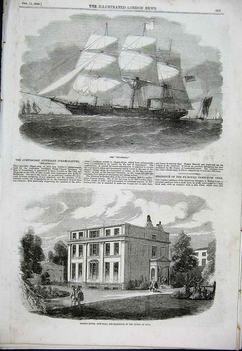 Print Harley House New Road London Australian Clipper Istanb 63Aaa1 Old Original