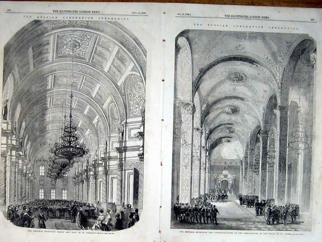 Print Coronation St Georges Hall & Salle St Andre Moscow 1856 65Taaa1 Old Original