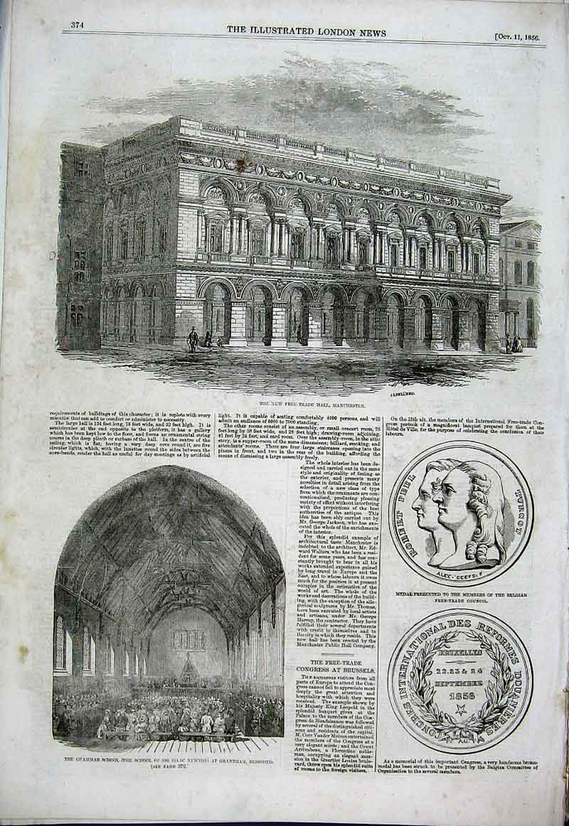 Print New Free Trade Hall Manchester 1856 74Aaa1 Old Original