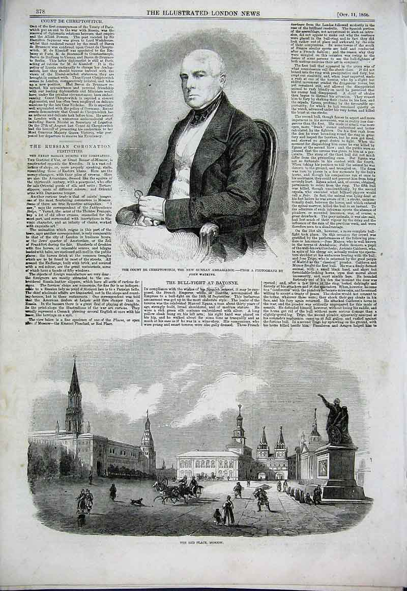Print Red Palace Moscow Count Chreptowitch 1856 78Aaa1 Old Original