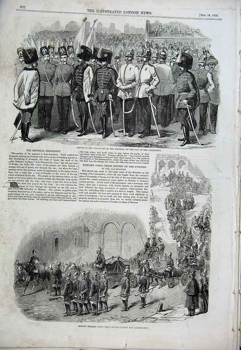 Print Moscow Firemen & Courtyard Kremlin Coronation Day 1856 02Aaa1 Old Original