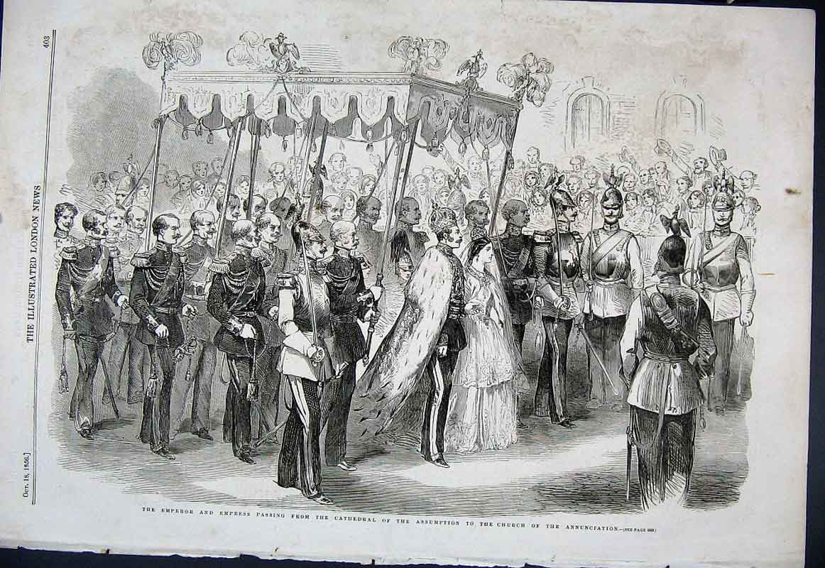 Print Emperor & Empress Russia Coronation Day 1856 03Aaa1 Old Original