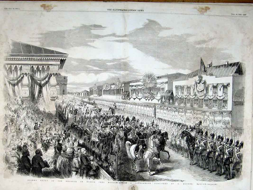 Print Emperor Russia Solemn Entry Into Moscow 1856 05Taaa1 Old Original