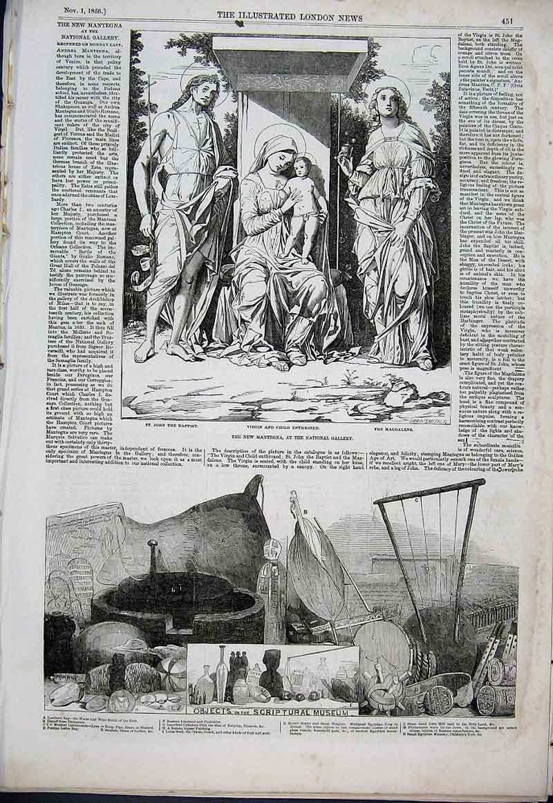 Print New Mantegna & Objects Scripture Museum 1856 51Aaa1 Old Original
