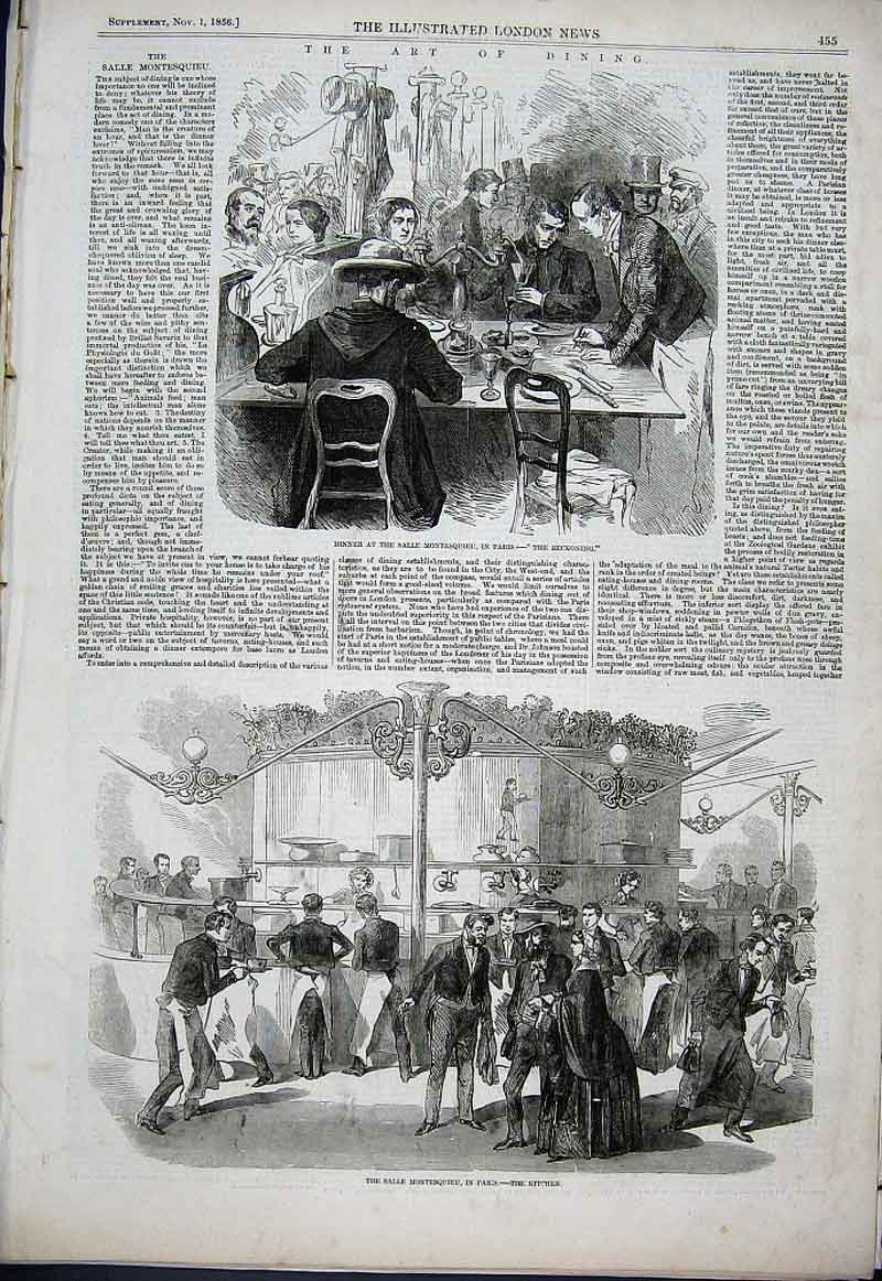 Print Dinner At Salle Montesquieu Paris France 1856 The Bill 55Aaa1 Old Original