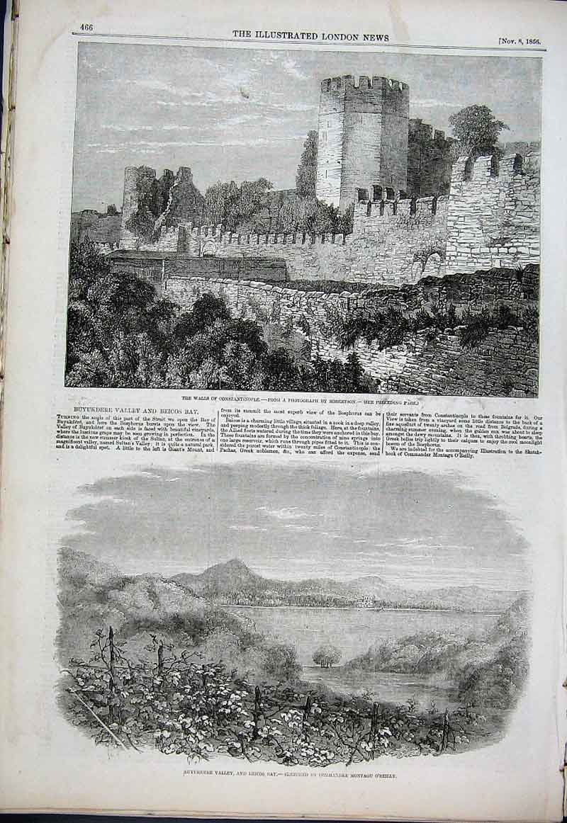 Print Constantinople & Buyukdere Valley & Beicos Bay 1856 Tur 66Aaa1 Old Original