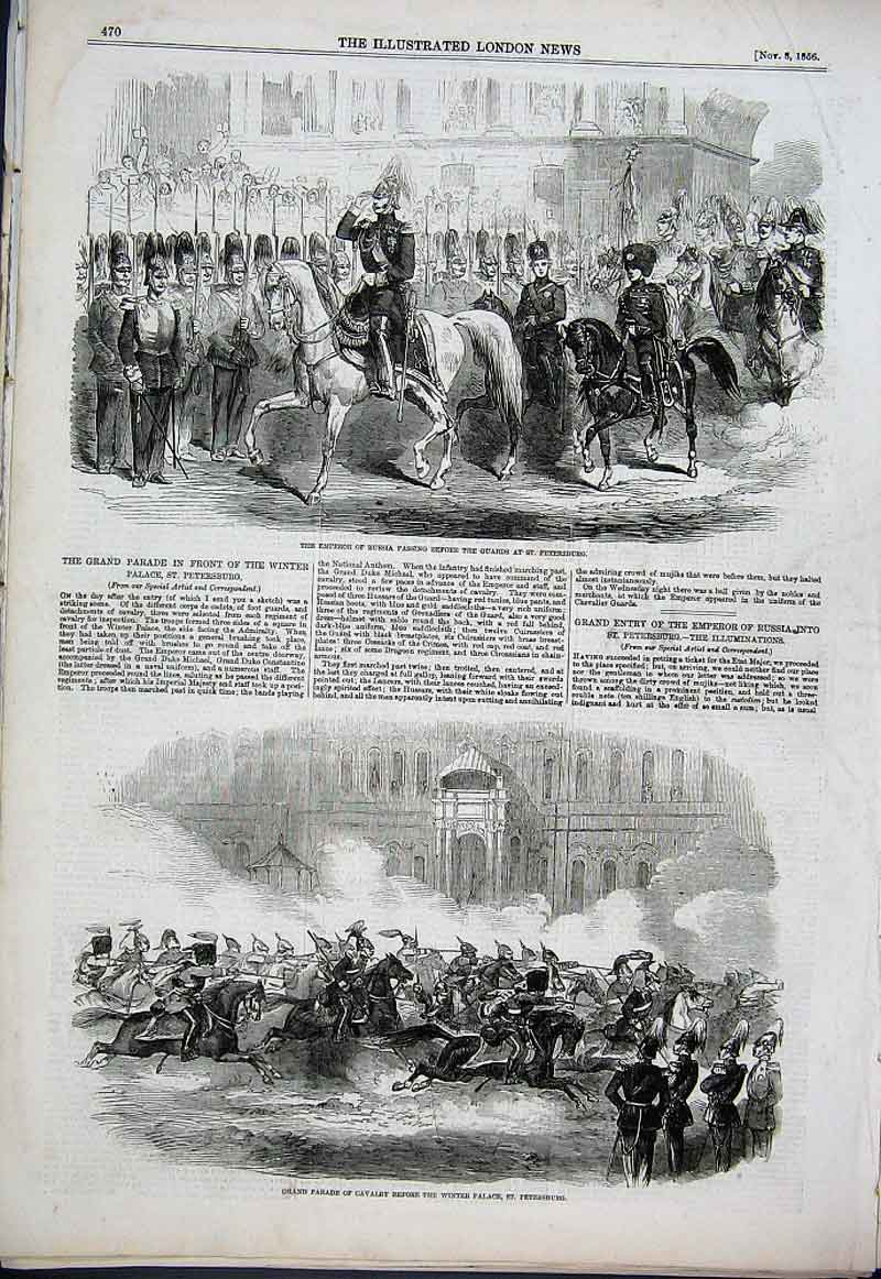Print Emperor Russia With Guards St Petersburg 1856 70Aaa1 Old Original