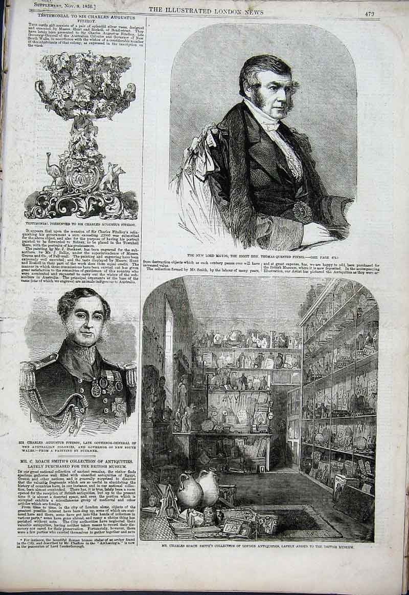 Print Thomas Finnis Charles Fitzroy London Antiquities 1856 79Aaa1 Old Original