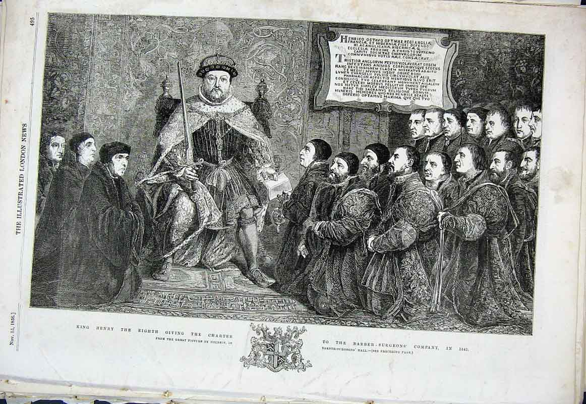 Print Henry Viii Giving Charter Barbour Surgeons Company 95Aaa1 Old Original