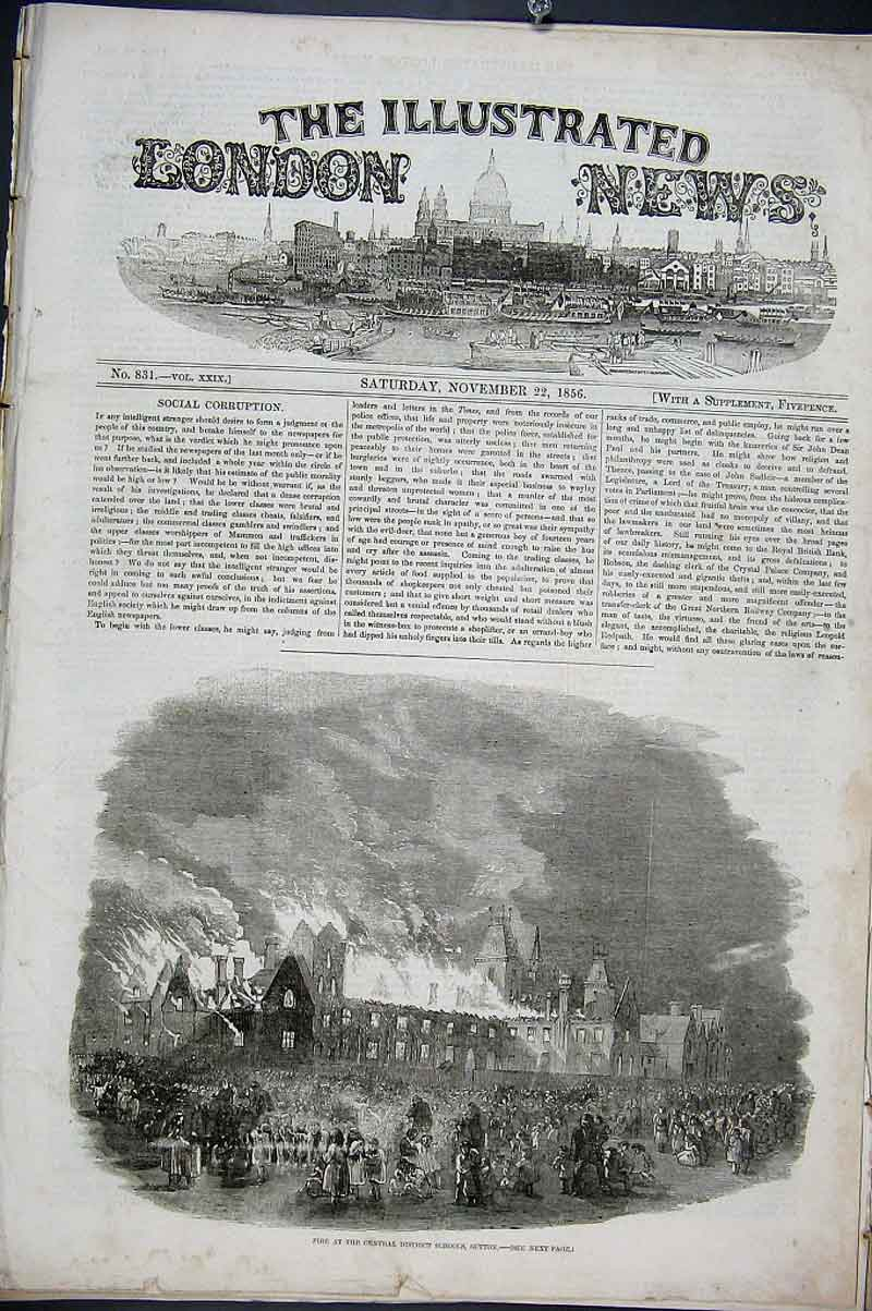 Print Fire At Central District School Sutton 1856 12Aaa1 Old Original