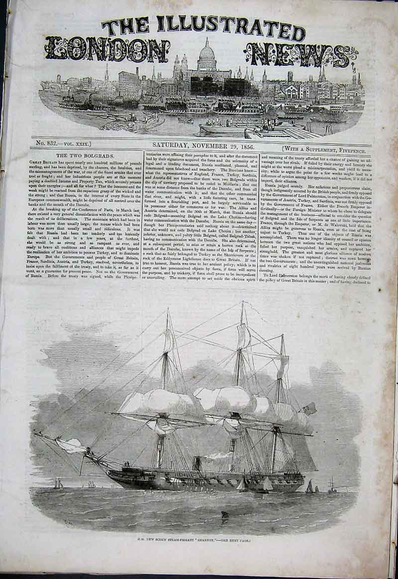 Print New Steam Firgate Shannon 1856 Ships 36Aaa1 Old Original