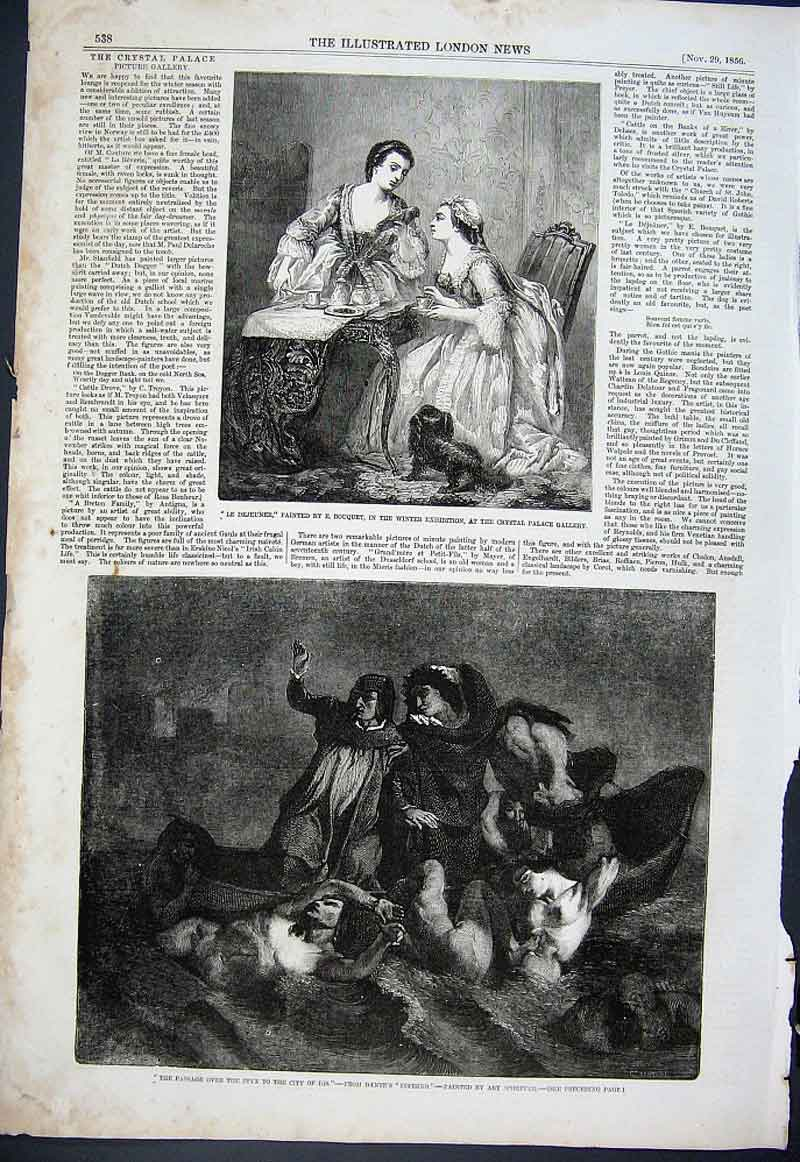 Print Le Dejeuner & Passage Over Styx Fine Art 1856 38Aaa1 Old Original