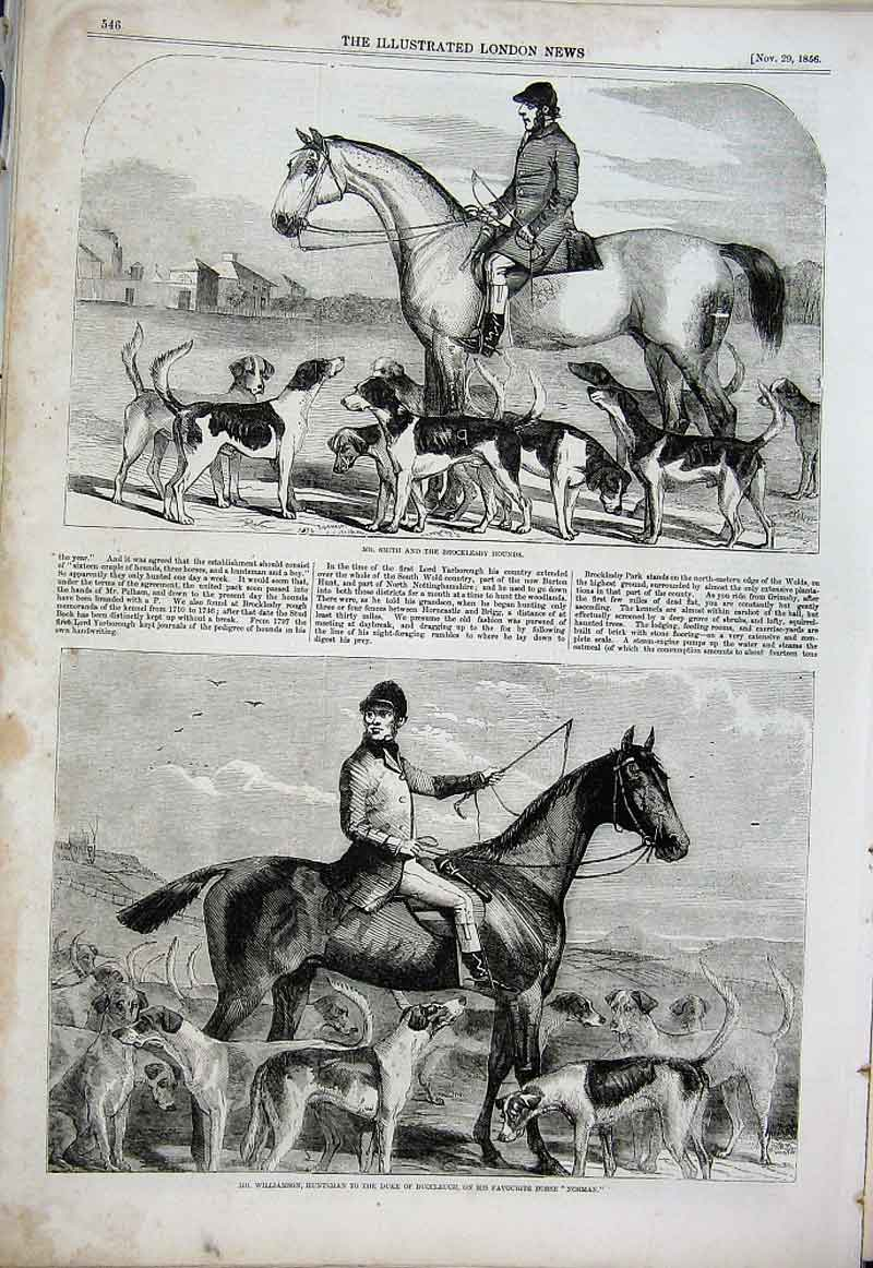 Print Huntsmen And Hounds 1856 46Aaa1 Old Original