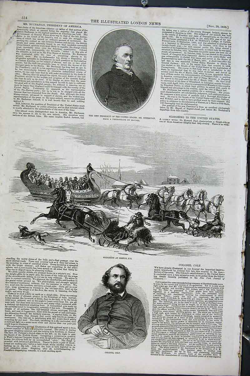 Print Col Colt Sleighing Boston Usa 1856 54Aaa1 Old Original