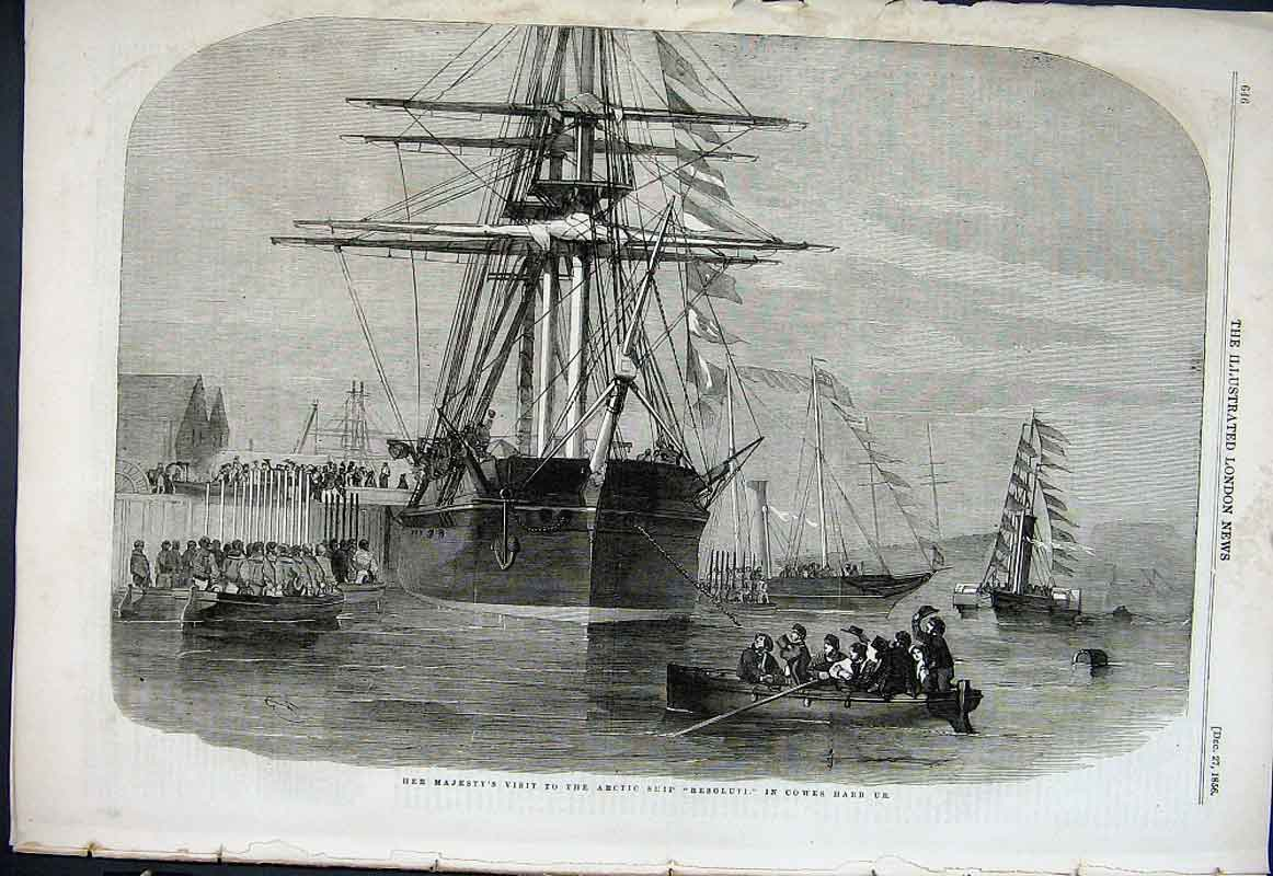 Print Artic Ship Resoluti In Cowes Harbour 1856 46Aaa1 Old Original