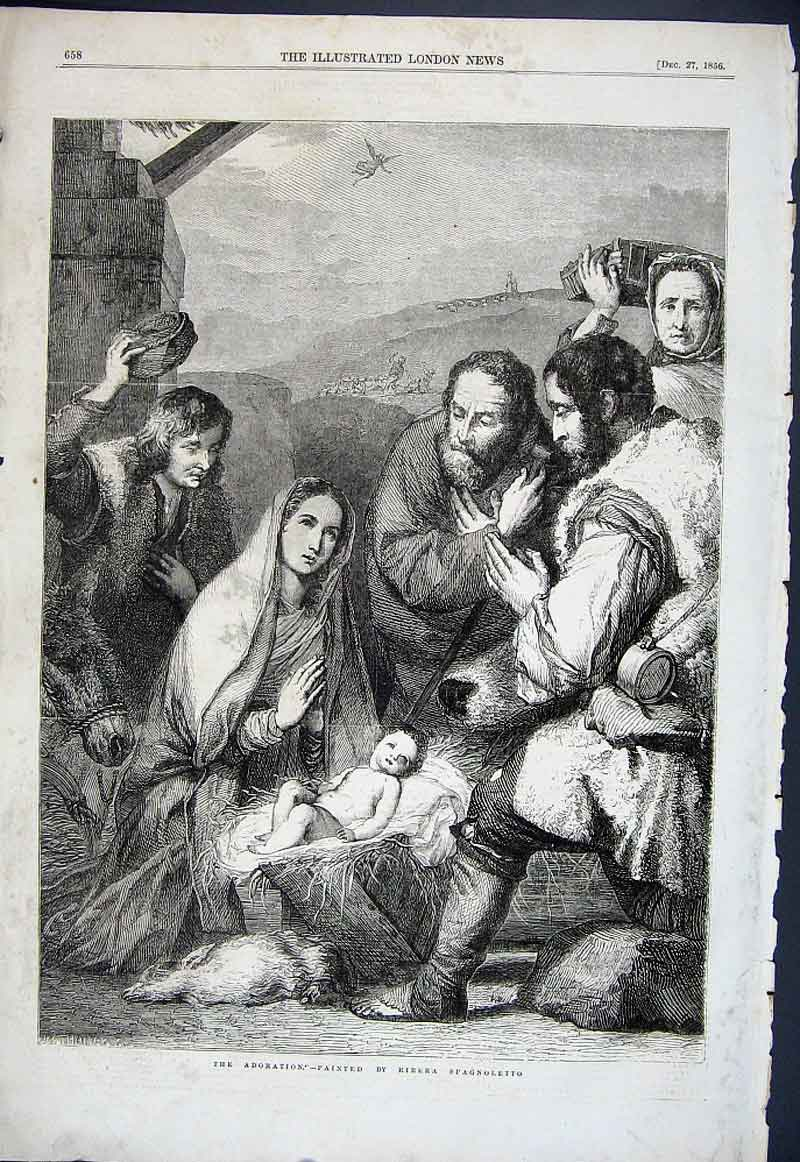 Print The Adoration By Spagnoletto 1856 Fine Art 58Aaa1 Old Original