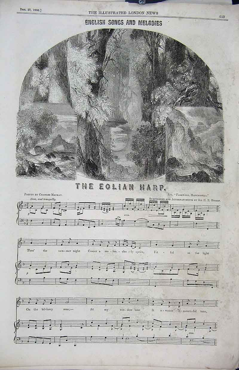 Print The Eolian Harp English Songs Melodies 1856 59Aaa1 Old Original