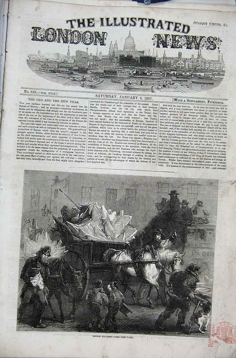 Print London Ice Carts 1856 64Aaa1 Old Original