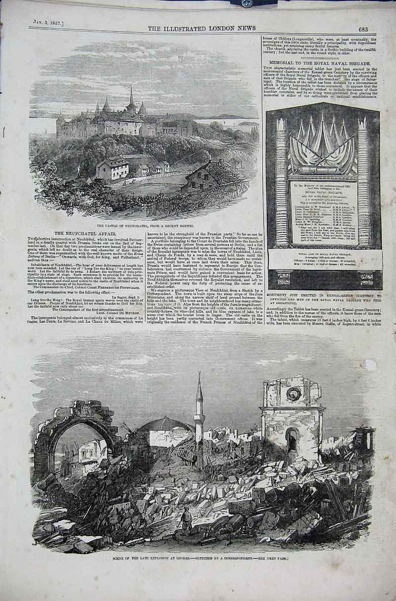 Print Castle Neufchatel Explosion At Rhodes 1856 83Aaa1 Old Original