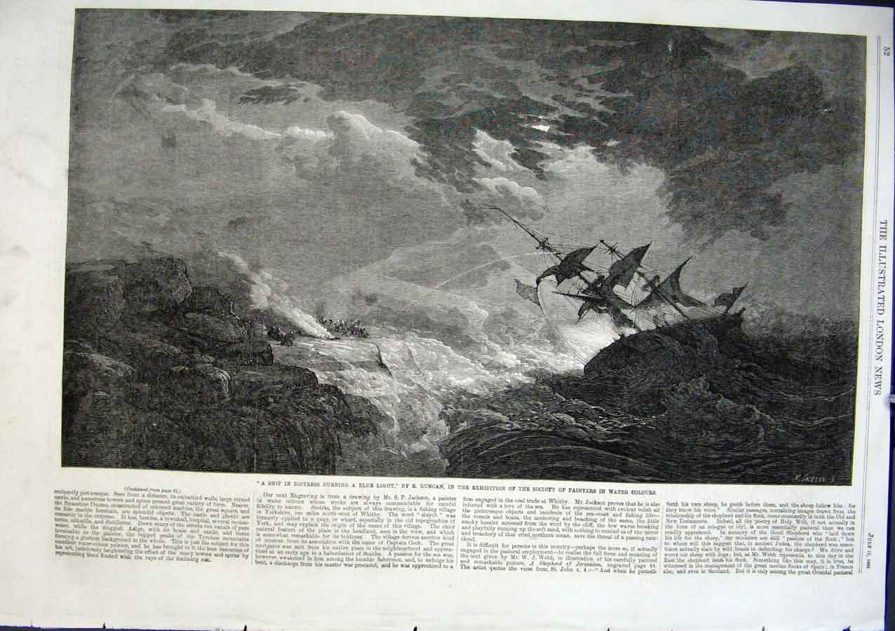 Print Ship In Distress Burning Blue Light By Duncan 1863 Art 52Aaa1 Old Original