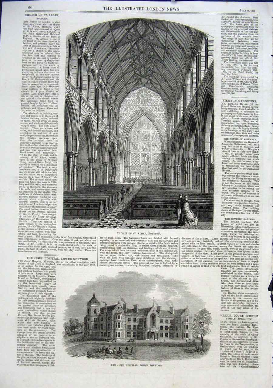 Print St Alban Church Holborn Jew'S Hospital Norwood 1863 60Aaa1 Old Original