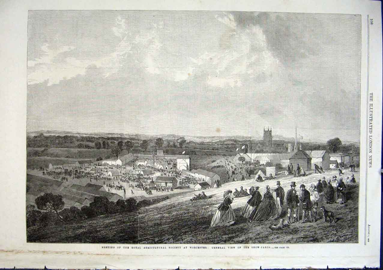 Print Worcester Show Ground & Town 1863 08Aaa1 Old Original