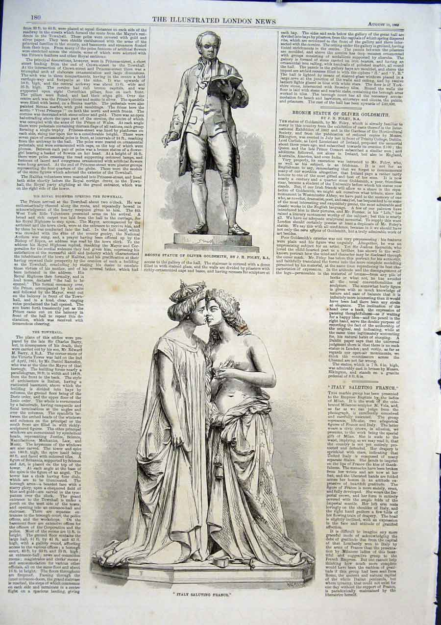 Print Statues Goldsmith & Italy Saluting France 1863 80Aaa1 Old Original