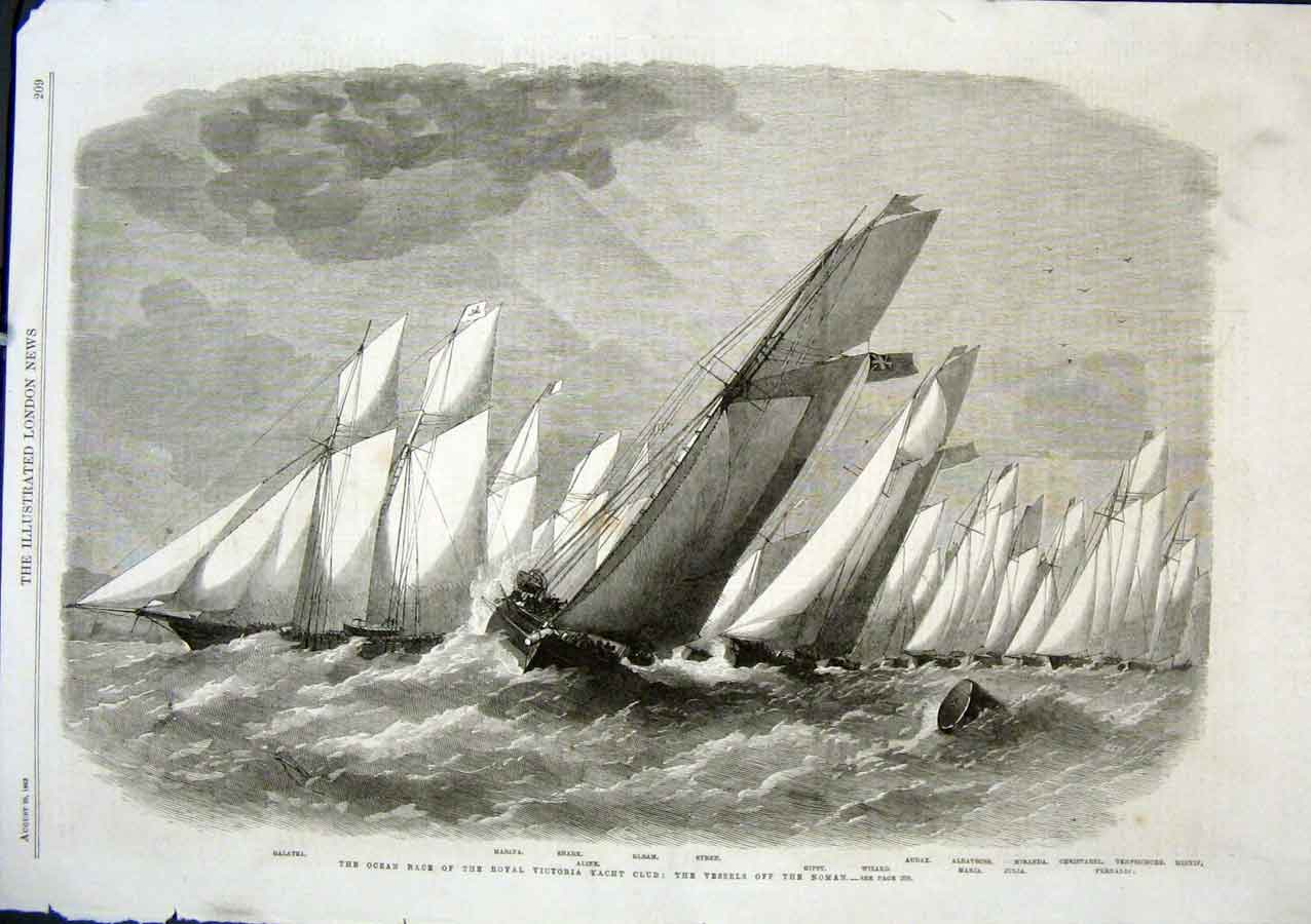 Print Ocean Race Victoria Yacht Club Off The Noman 1863 09Aaa1 Old Original