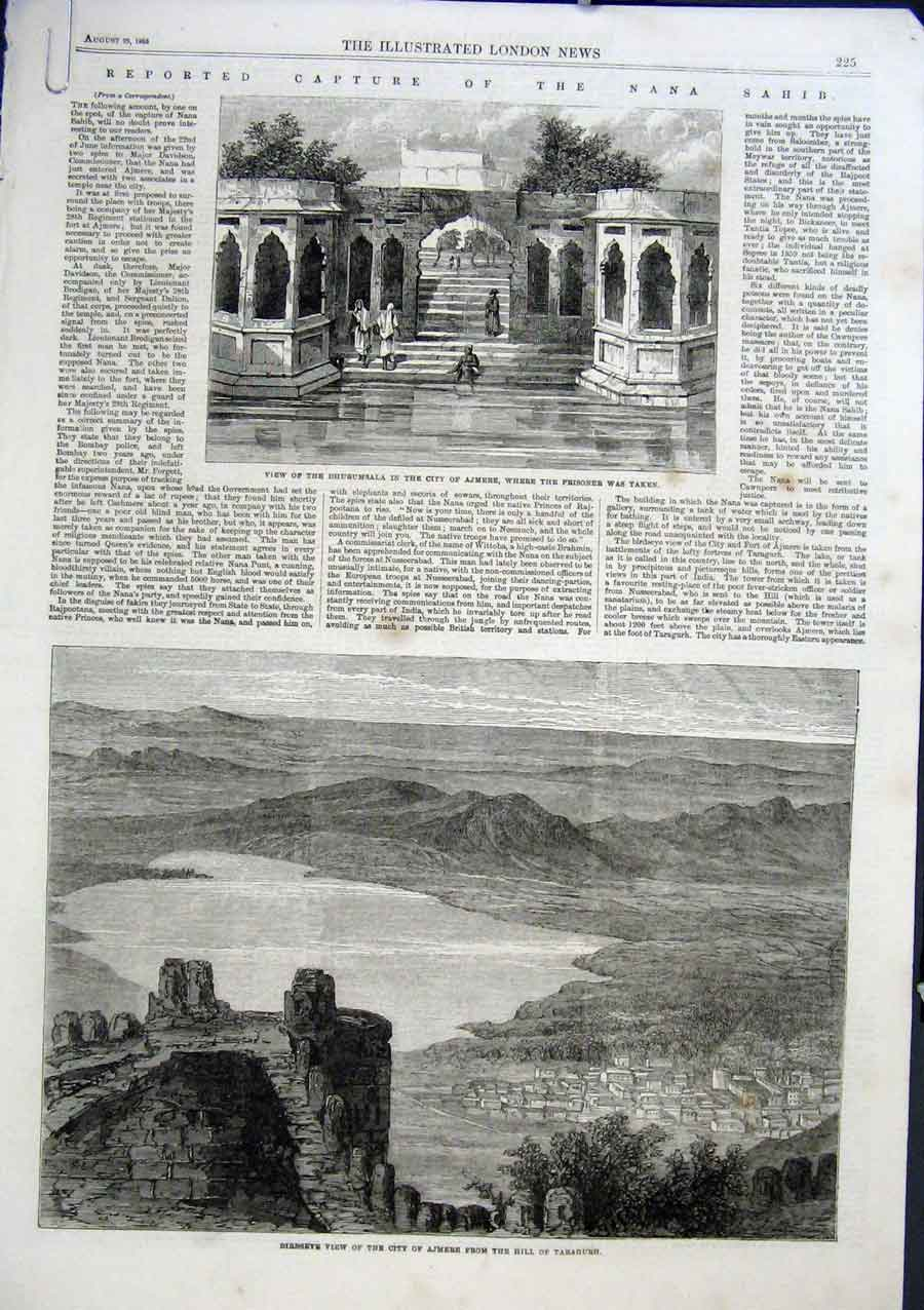 Print Dhurumsala Ajmere India 1863 25Aaaa1 Old Original