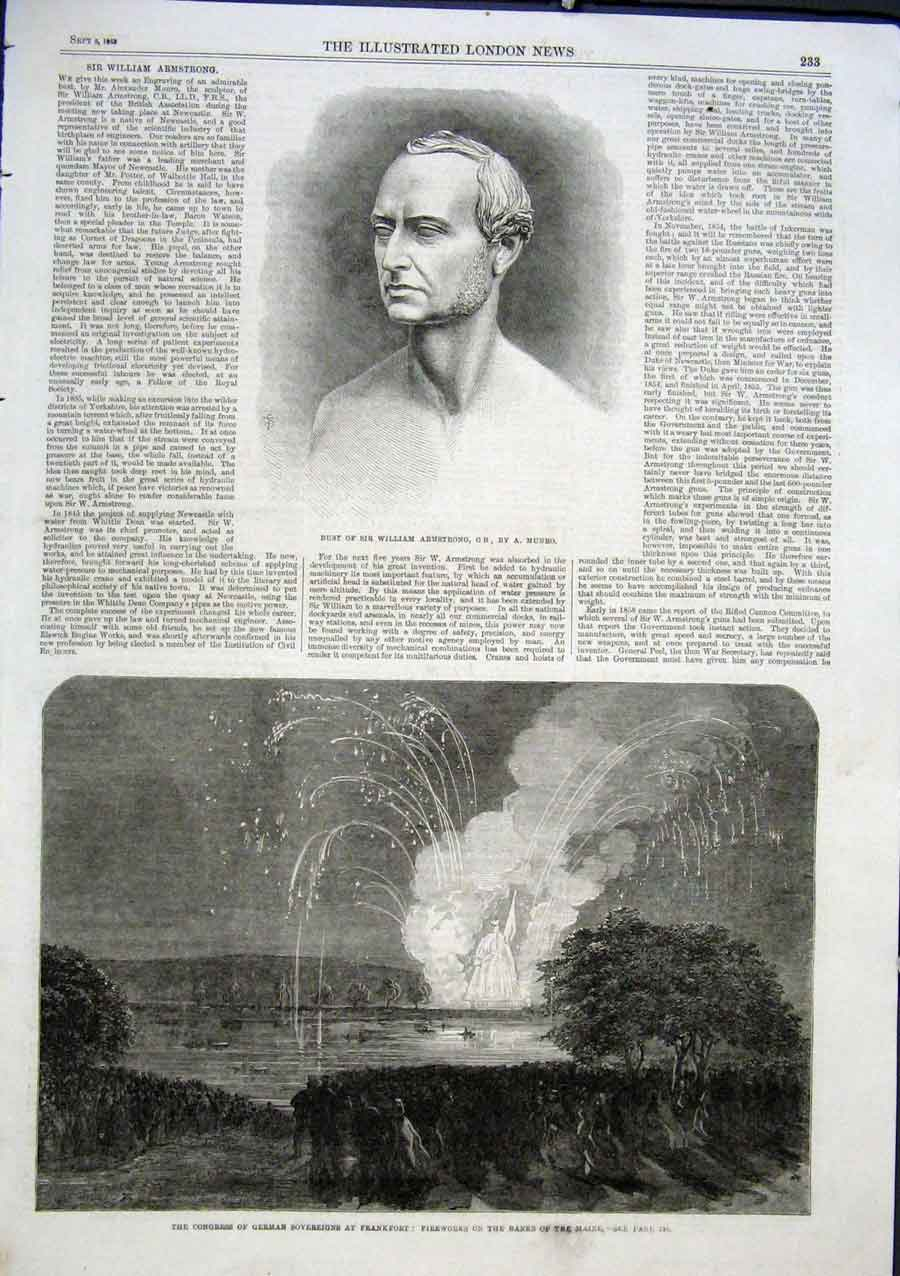 Print Firewaorks On Banks Maine Germany 1863 33Aaa1 Old Original