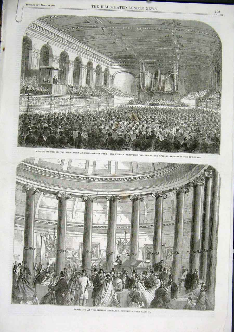 Print Newcastle On Tyne Corn Exhange Townhall 1863 69Aaaa1 Old Original