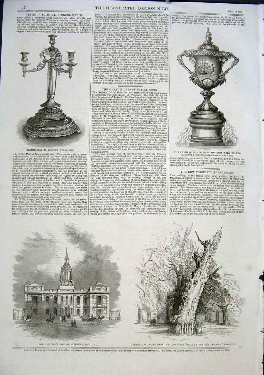 Print Townhall Inverury Scotland Herne'S Oak Windsor 1863 76Aaa1 Old Original
