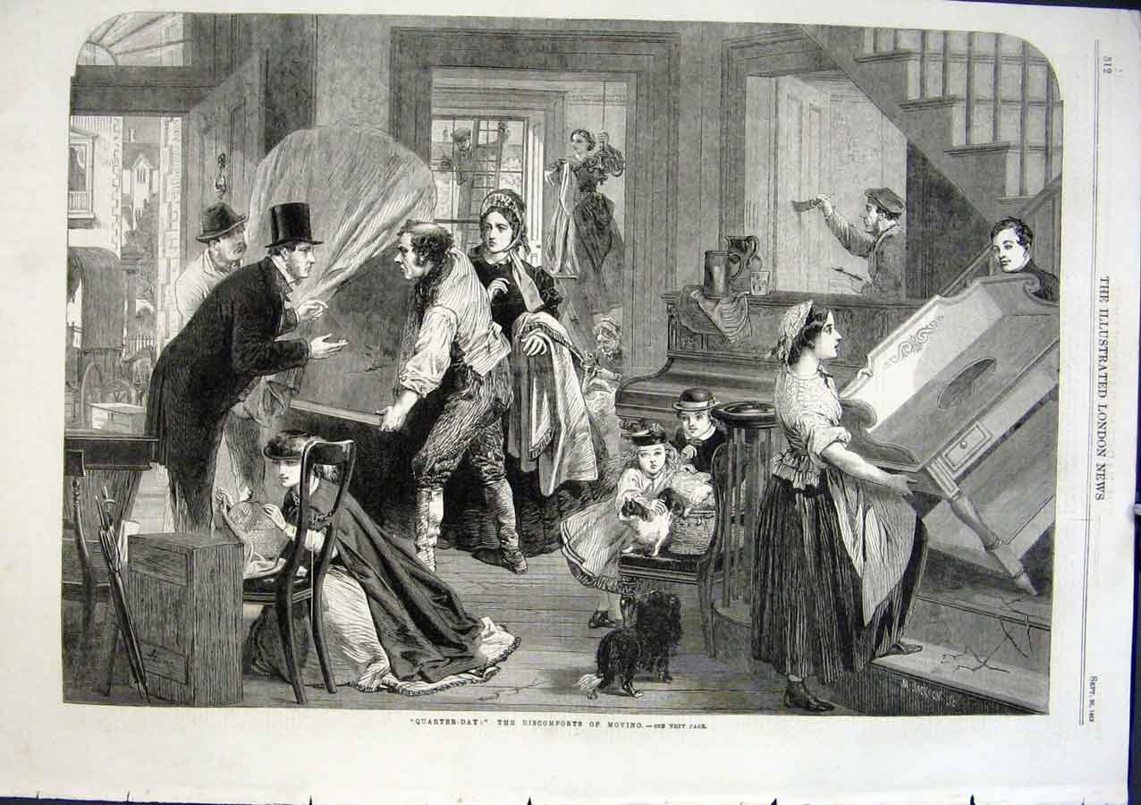 Print Discomforts Moving House In 1863 12Aaa1 Old Original