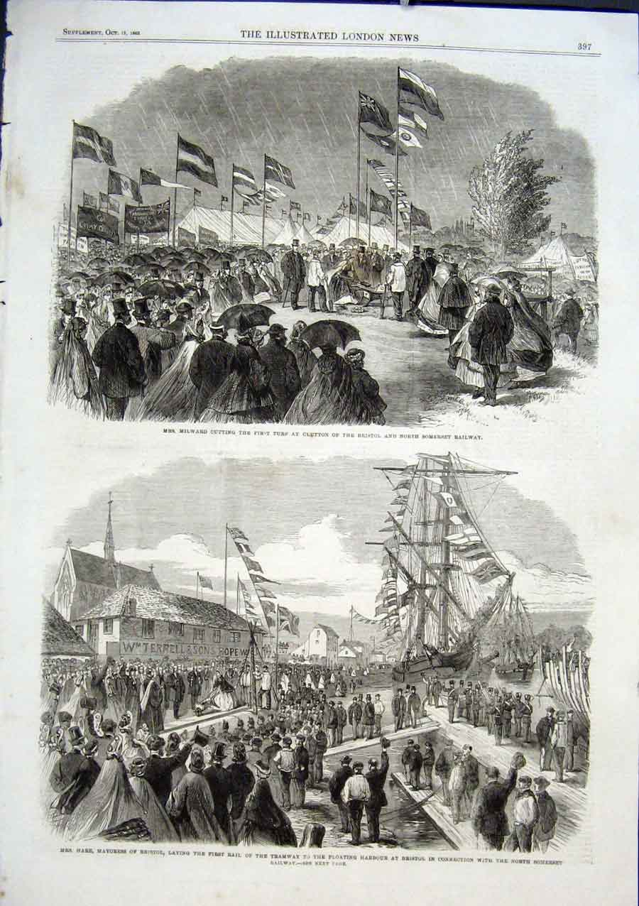Print Bristol & North Somerset Railway 1863 97Aaa1 Old Original