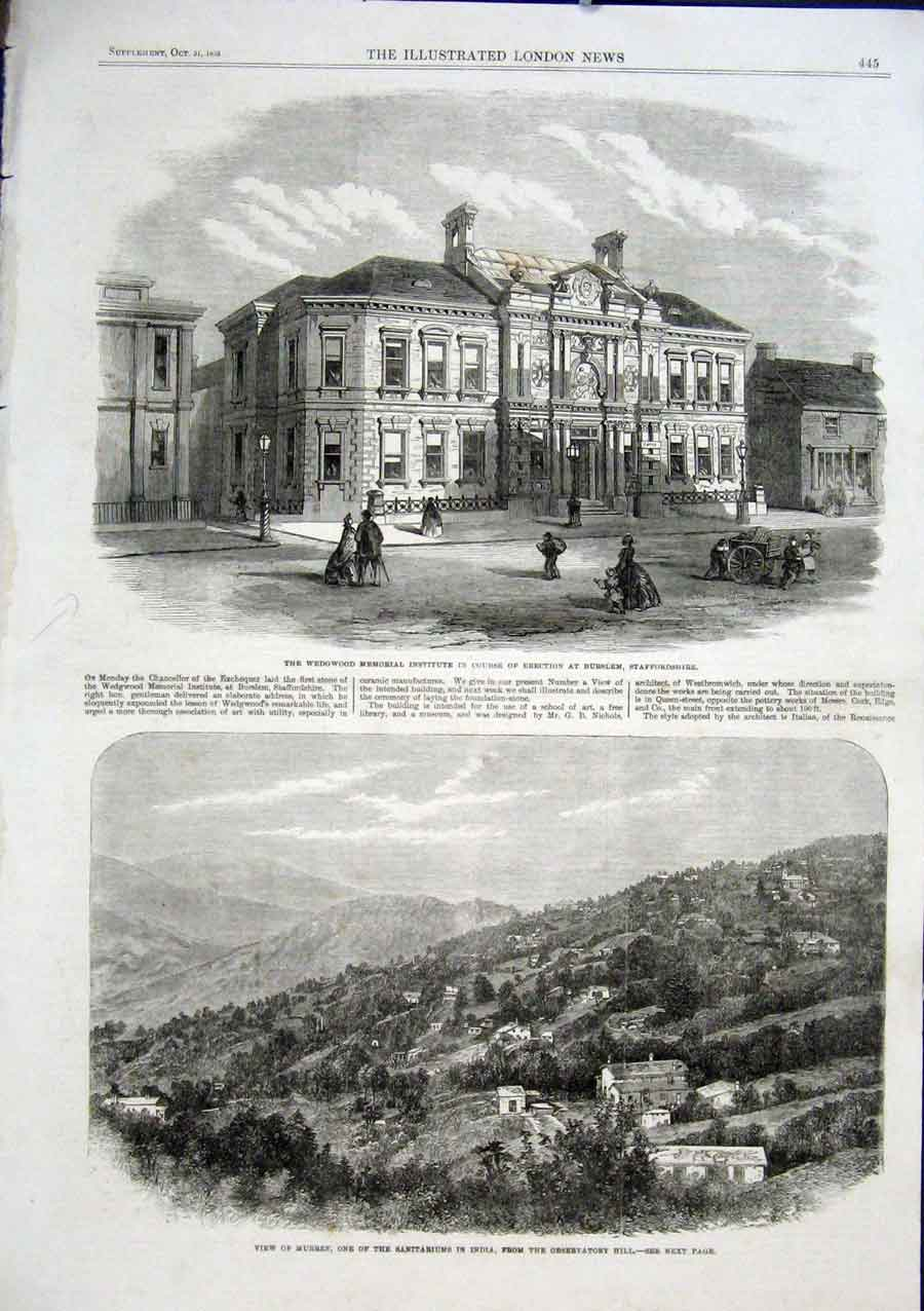 Print Murree India Wedgewood Memorial Institute Staffordshir 45Aaa1 Old Original