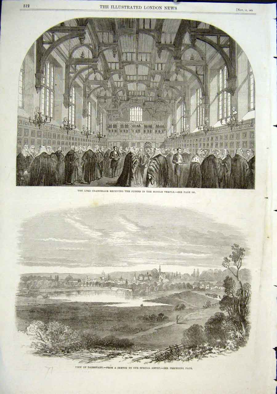 Print Lord Chancellor & Judges Inner Temple 1863 Darmstadt 12Aaa1 Old Original