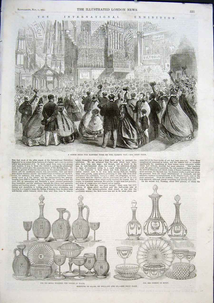 Print International Exhibition 1863 Glass Lights Tiles 25Aaaa1 Old Original