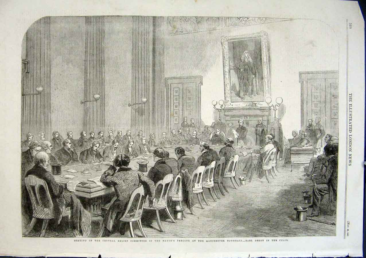 Print Committee Mayors Parlour Townhall Manchestert 1863 60Aaa1 Old Original