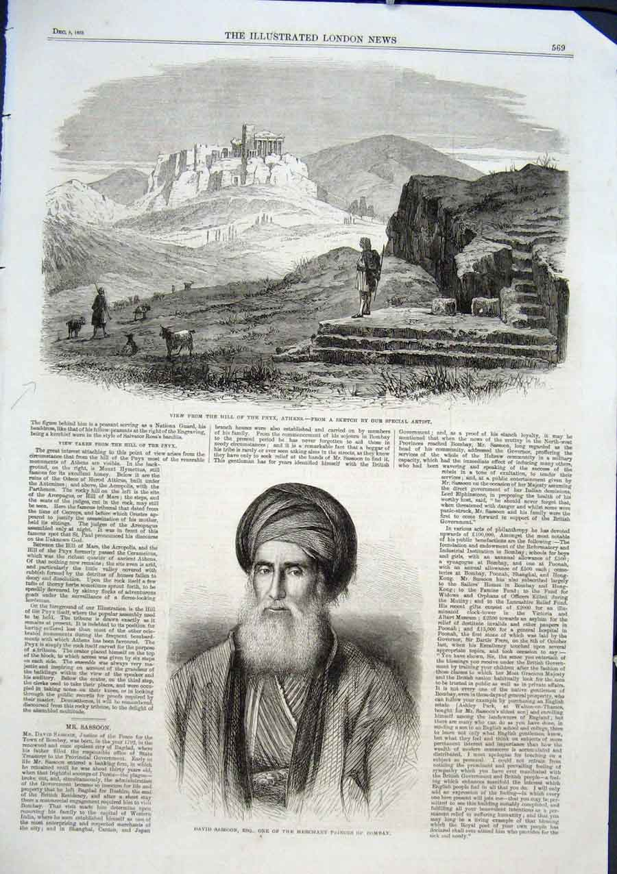 Print View Pnyx Athens 1863 David Sassoon Bombay Merchant 69Aaa1 Old Original