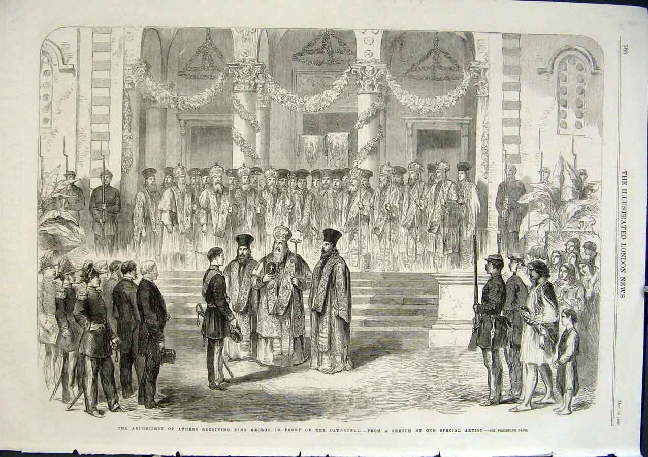 Print Archbishop Athens Receive King George At Cathedral G 88Aaa1 Old Original